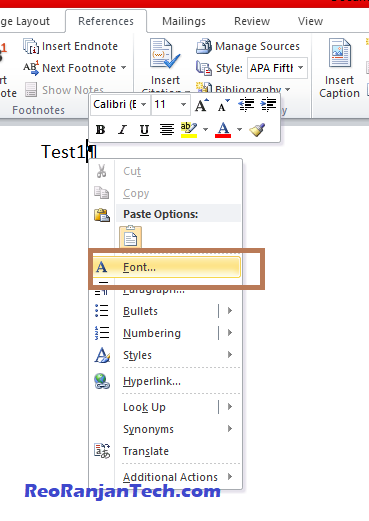 how to remove index in word