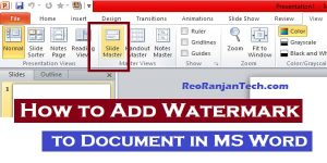 PPT में  watermark add कैसे करते है? – How to Add Watermark in MS Word