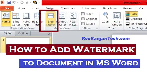 How to Add Watermark in MS Word