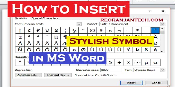 How to Insert Stylish Symbol in Word