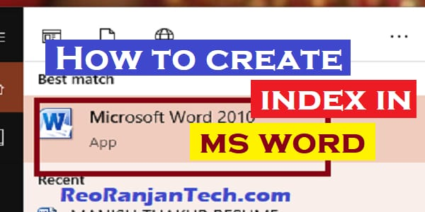 How to create index in ms word