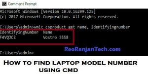 How to find laptop model number using cmd